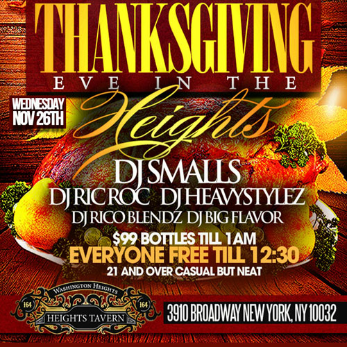 Thanksgiving Eve Party NYC at Heights Tavern NYC Washington Heights Uptown Thanksgiving Night