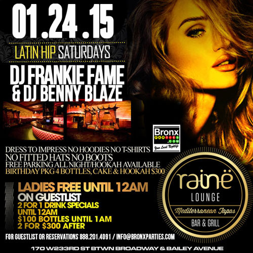 Saturday Night Latin Party at Club Raine Lounge NYC Hookah Lounge