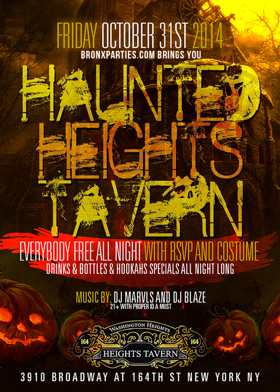 Heights Tavern NYC Halloween Party, Free Halloween Tickets here